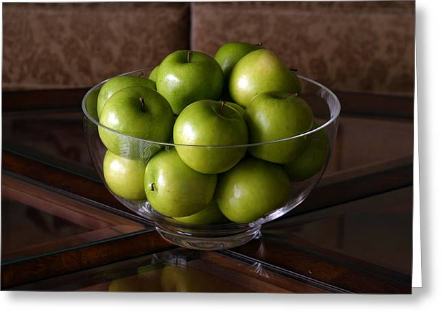 Mikeledray Greeting Cards - Glass bowl of green apples  Greeting Card by Michael Ledray