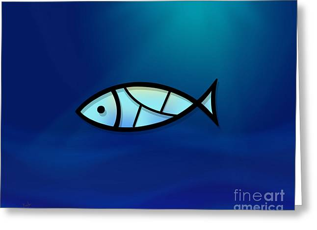Turquoise Stained Glass Greeting Cards - Glass Fish Greeting Card by Bedros Awak