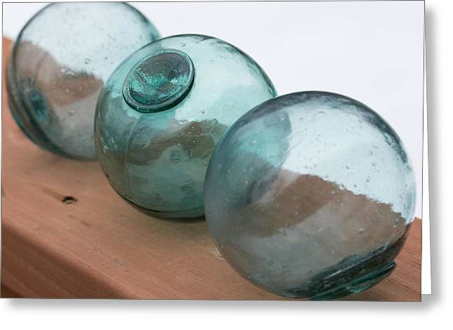 Glass Floats Greeting Cards - Glass floats Greeting Card by Kristina Webb