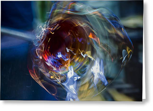 Glass Blowing Greeting Cards - Glass in Motion Greeting Card by Marion McCristall