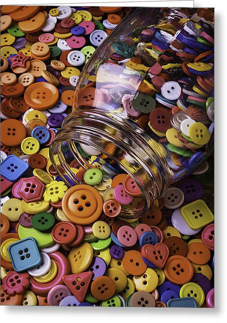 Mend Greeting Cards - Glass Jar Spilling Buttons Greeting Card by Garry Gay