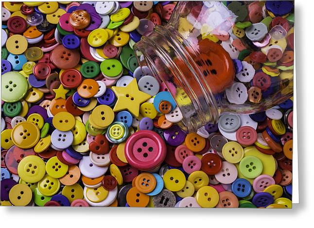 Mend Greeting Cards - Glass Jar With Buttons Greeting Card by Garry Gay