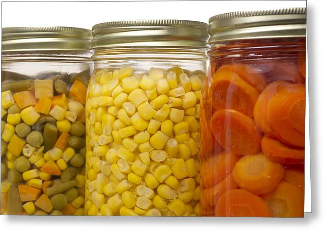 Green Beans Greeting Cards - Glass Jars of Preserved Mixed Vegetables Greeting Card by Donald  Erickson