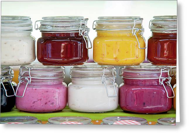 Glass Jars With Colorful Jams 1 Greeting Card by Jenny Rainbow