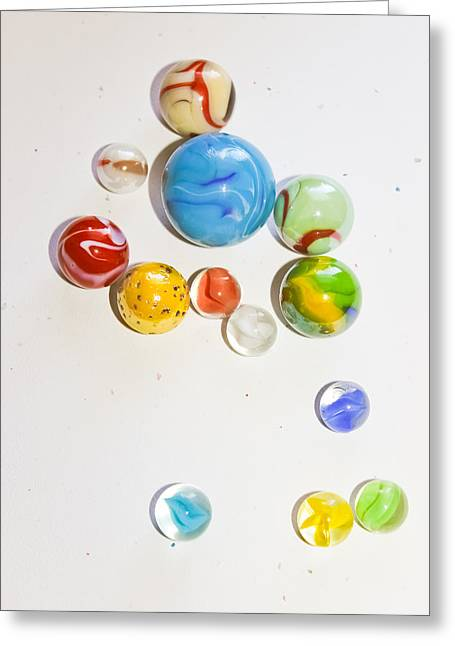 Win Greeting Cards - Glass Marbles - Vintage Toys Greeting Card by Colleen Kammerer