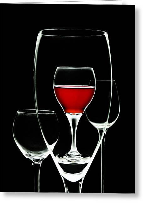 Glass Of Wine In Glass Greeting Card by Tom Mc Nemar