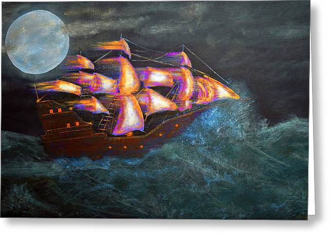 Moon Beach Greeting Cards - Pirate ship Greeting Card by Ken Figurski