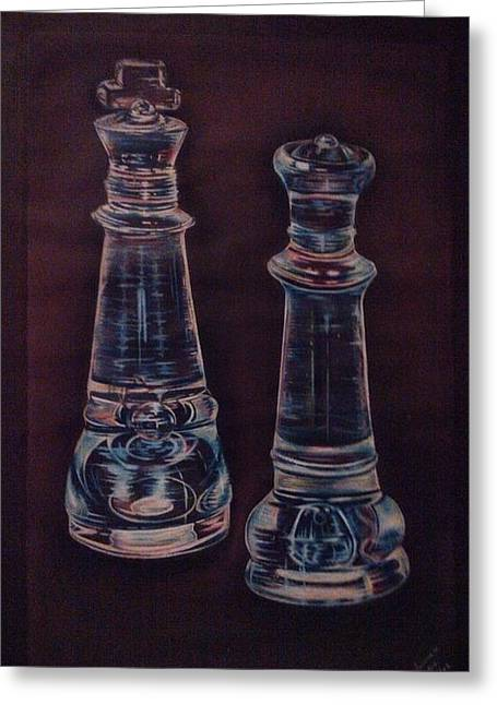 Chess Piece Drawings Greeting Cards - Glass royalty Greeting Card by Summer Porter