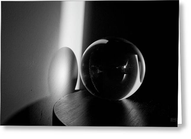 Glass Sphere In Light And Shadow Greeting Card by David Gordon