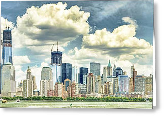 Buildings In The Harbor Greeting Cards - Glass Tower Island Scrapping the SKY Greeting Card by John Amelia