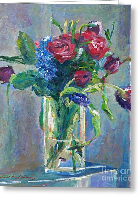Lilac Tulip Flower Greeting Cards - Glass Vase on Sill Greeting Card by David Lloyd Glover