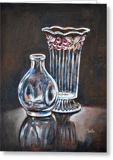 Glass Vase Greeting Cards - Glass Vases-Still Life Greeting Card by Usha Shantharam