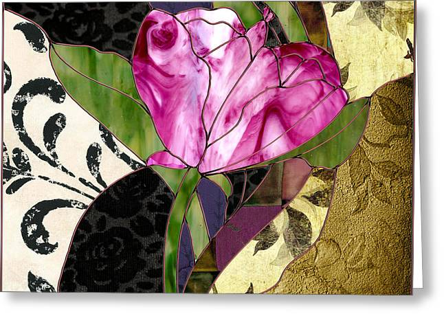Glassberry Pink Poppy Stained Glass Greeting Card by Mindy Sommers
