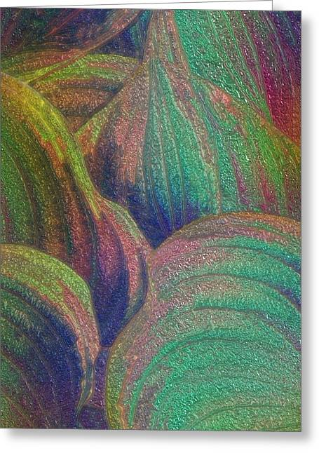 Purple Abstract Greeting Cards - Glassed Leaf Greeting Card by Jack Zulli