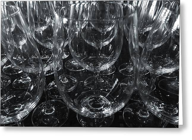 Glass Table Reflection Greeting Cards - Glasses Greeting Card by Jonathan Nguyen