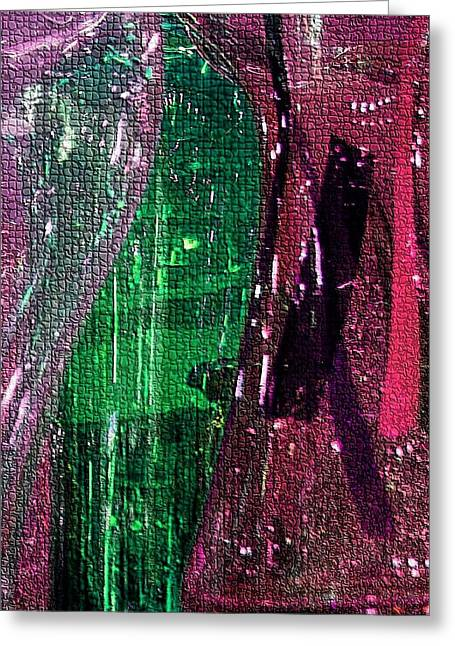 Glass Vase Greeting Cards - Glassy Mosaic in Burgundy Greeting Card by Carolyn Jacob