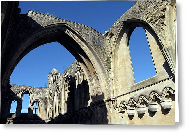 Glastonbur Abbey 2 Greeting Card by Kurt Van Wagner