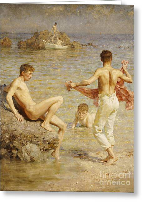 Pants Greeting Cards - Gleaming Waters Greeting Card by Henry Scott Tuke