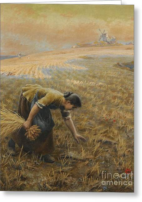 Person Greeting Cards - Gleaning Greeting Card by Arthur Foord Hughes