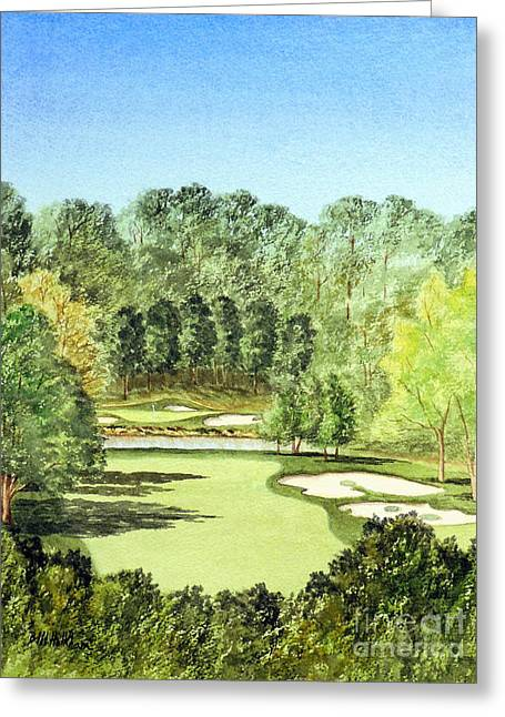 Canadian Sports Artist Greeting Cards - Glen Abbey Golf Course Canada 11th Hole Greeting Card by Bill Holkham