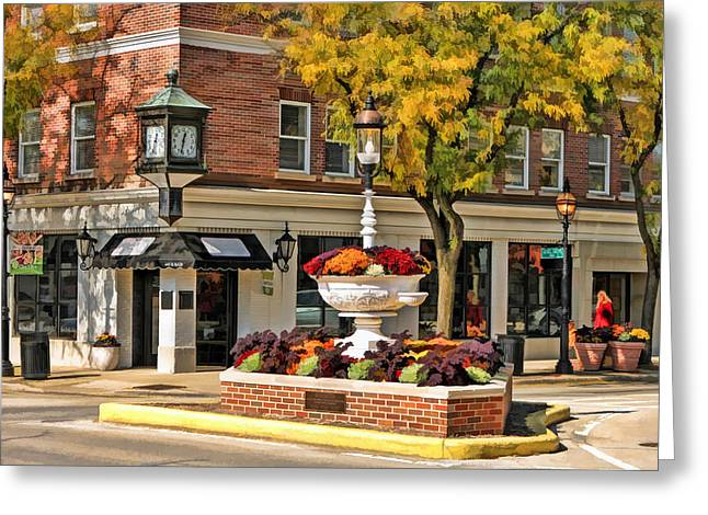 Glen Ellyn Watering Fountain Greeting Card by Christopher Arndt