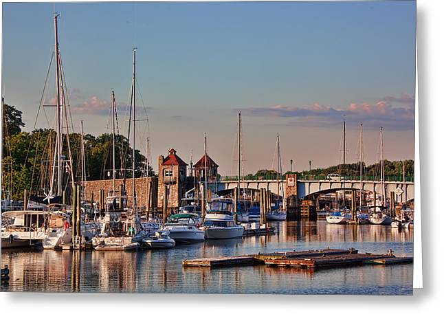 Toll House Greeting Cards - Glen Island Bridge Greeting Card by June Marie Sobrito