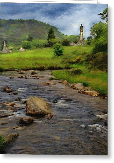 Towers Greeting Cards - Glendalough in the Distance Greeting Card by Jeff Kolker