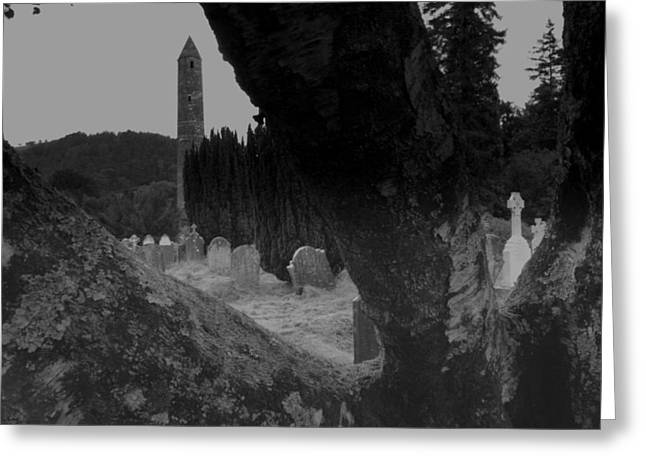 Headstones Greeting Cards - Glendalough view Greeting Card by John Quinn