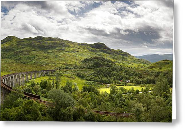 Glenfinnan Viaduct Panorama Greeting Card by Jane Rix
