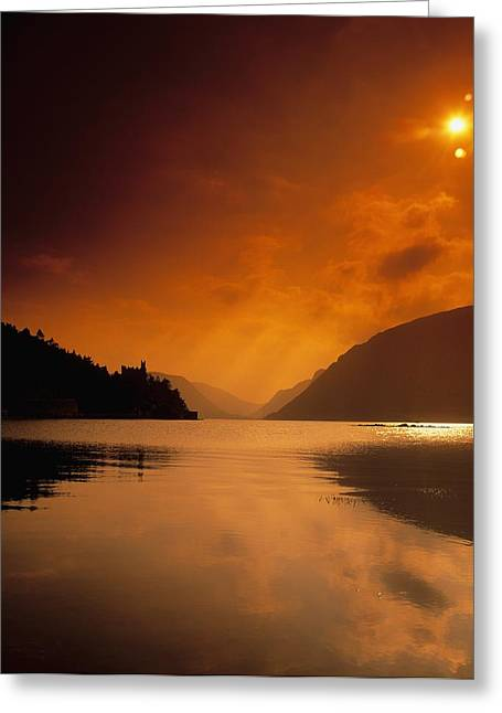 Serenity Scenes Landscapes Greeting Cards - Glenveagh Castle And Lough Veagh Greeting Card by The Irish Image Collection