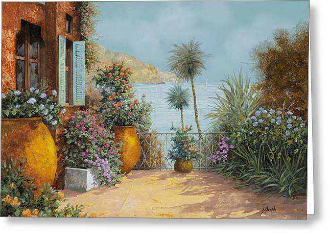 Seascapes Greeting Cards - Gli Otri Sul Terrazzo Greeting Card by Guido Borelli