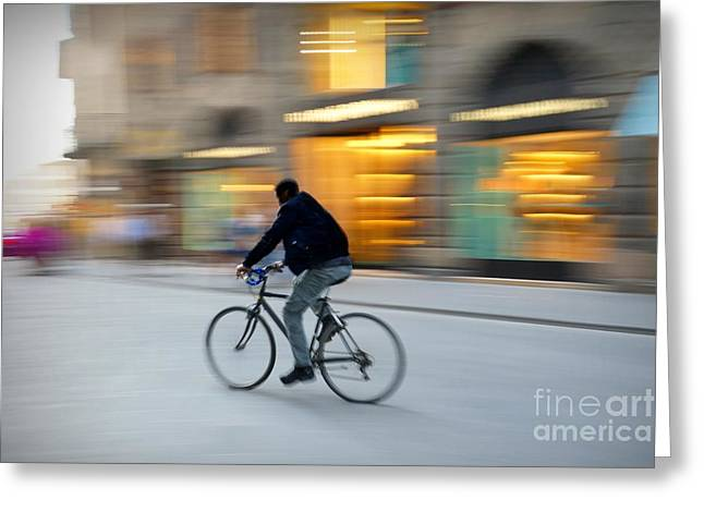 Store Fronts Greeting Cards - Gliding Past the Glamour Greeting Card by Patricia Strand