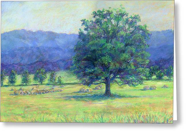 Bale Pastels Greeting Cards - Glimpse of a Hayfield Greeting Card by Michelle Bostock