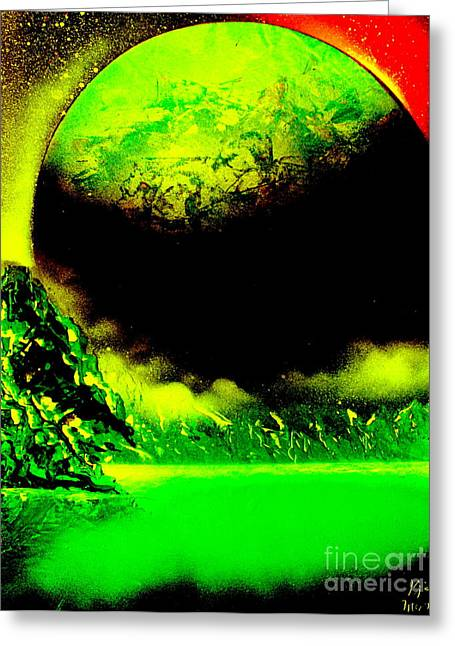 Outer Space Paintings Greeting Cards - Global 4676 E2 Greeting Card by Greg Moores