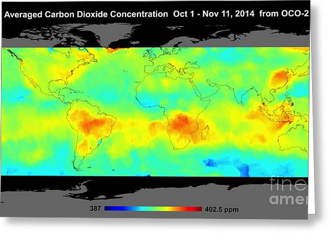 Carbon Dioxide Greeting Cards - Global Atmospheric Carbon Dioxide Greeting Card by Science Source