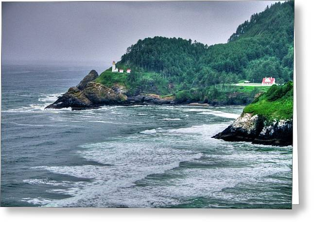 Technical Photographs Greeting Cards - Gloomy Heceta Lighthouse  Greeting Card by Connie Cooper-Edwards