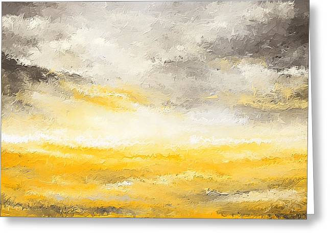 Yellow And Gray Abstract Greeting Cards - Gloomy Sunny Day Greeting Card by Lourry Legarde
