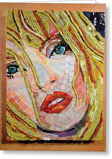 Portrait Glass Greeting Cards - Gloria Greeting Card by Beverly Thomas Jenkins