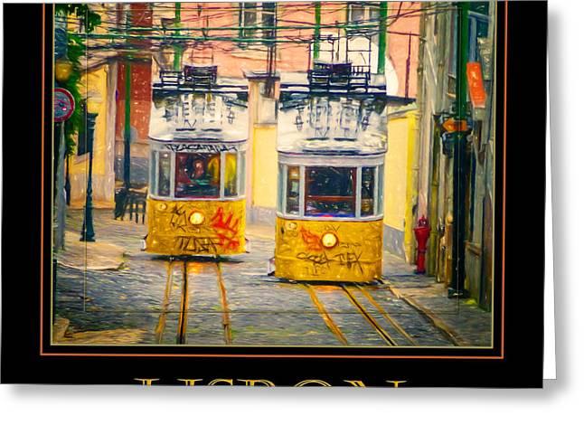 Greeting Cards - Gloria Funicular Lisbon Poster Greeting Card by Joan Carroll