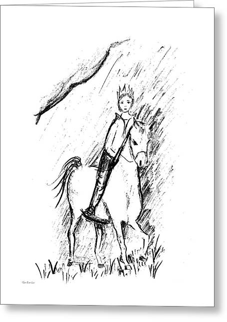 Glorian The Prince Riding His Horse Greeting Card by Tomer Rosen Grace