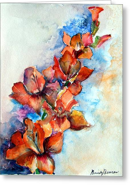 Gladiolas Drawings Greeting Cards - Glorify Greeting Card by Mindy Newman