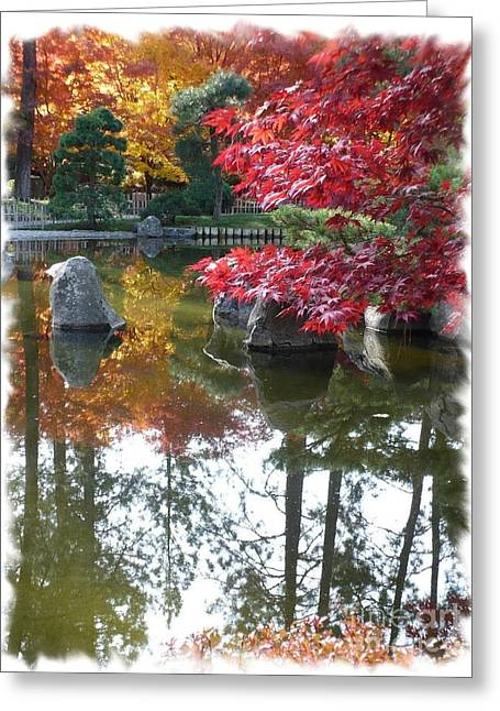 Glorious Fall Colors Reflection With Border Greeting Card by Carol Groenen