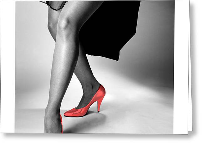 Glorious Gams - Red Shoes Greeting Card by Jerry Taliaferro