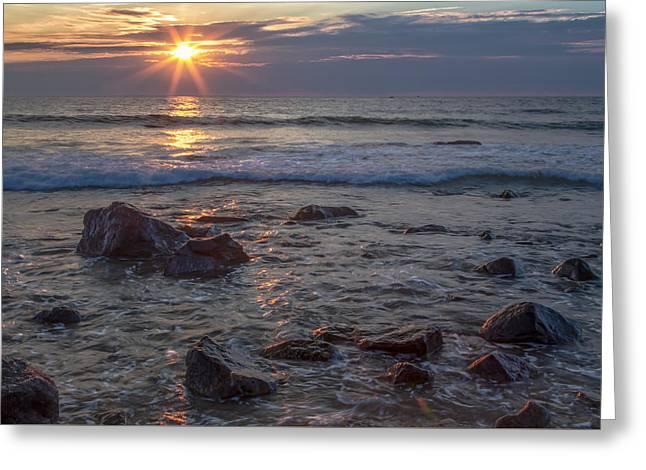 Blue Green Wave Greeting Cards - Glorious Morning  2417  Greeting Card by Karen Celella
