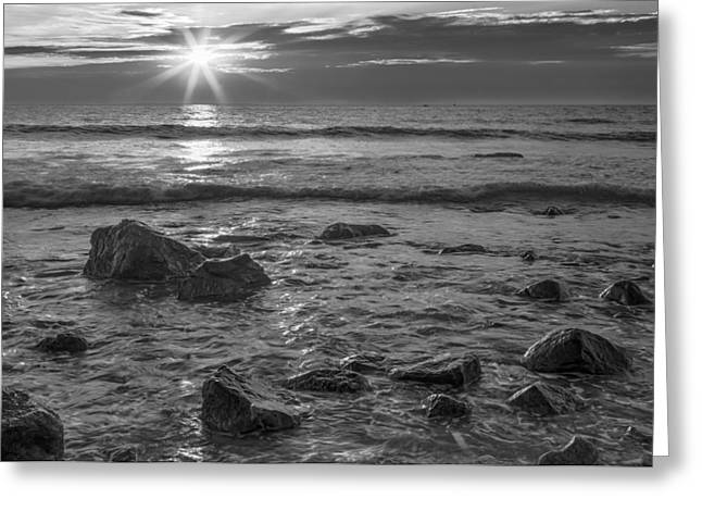 Blue Green Wave Greeting Cards - Glorious Morning in Black and White  2417bw Greeting Card by Karen Celella