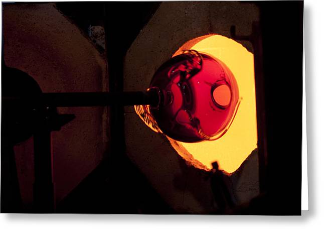 Glass Blowing Greeting Cards - Glory Hole Greeting Card by Barbara  White