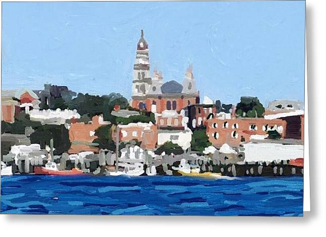 Boats In Harbor Greeting Cards - Gloucester City Hall from Inner Harbor Greeting Card by Melissa Abbott