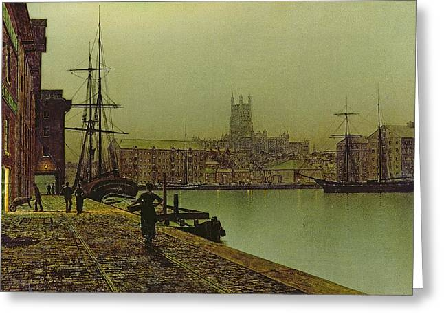 Grimshaw; John Atkinson (1836-93) Greeting Cards - Gloucester Docks Greeting Card by John Atkinson Grimshaw