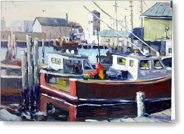 Gloucester Harbor and the Birdseye Tower Greeting Card by Chris Coyne