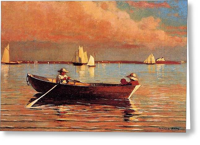 Winslow Homer Digital Art Greeting Cards - Gloucester Harbor Greeting Card by Winslow Homer